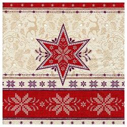 Linoows Papierserviette 20 Servietten Weihnachten, Sternenmuster und Hirsc, Motiv Weihnachten, Sternenmuster und Hirsche