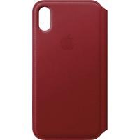 Apple iPhone X Leder Flip Case rot