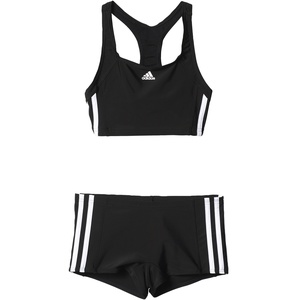 adidas Mädchen Infinitex Essence Core 3-Stripes Bikini, Black/White, 128