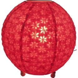 Guru-Shop Tischleuchte Corona round runde Lokta Papier Tischlampe 25 cm rot