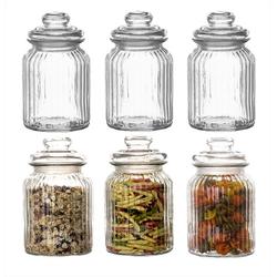 BigDean Vorratsdose 6x Bonbongläser Bonboniere 1 Liter − Mit Deckel − Für Süßigkeiten, Kekse, Kräuter & Gewürze − Vintage Vorratsgläser, Glas, (6-tlg)