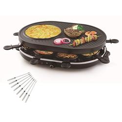 Tristar Raclette, 8 Raclettepfännchen, 1200 W, Modernes Raclette Gerät für 2-8 Personen, ovaler Tischgrill Crepesmaker, Raclet mit 8 Teppangabeln, 1400 Watt