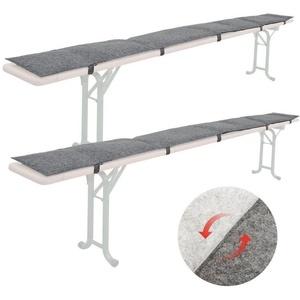 DuneDesign Bankauflage 2x FILZ Bierbank Auflage zum Wenden Polster, 220x25x2 cm Bierzeltgarnitur