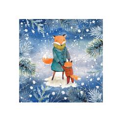 Paper+Design Papierserviette Tanzende Füchse im Wald, 33 cm x 33 cm