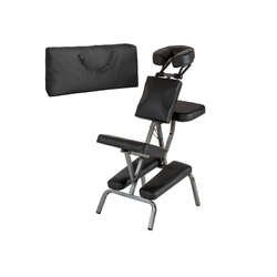 tectake Massagesessel Massagestuhl aus Kunstleder (1-St) schwarz