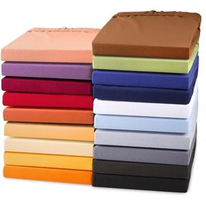 aqua-textil Exclusiv Spannbettlaken 180x200 - 200x220 cm Natur Jersey Baumwolle 230g/qm Spannbetttuch Elastan Laken