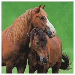 Linoows Papierserviette 20 Servietten, zwei Pferde, Edle Pferde auf der, Motiv zwei Pferde, Edle Pferde auf der Wiese