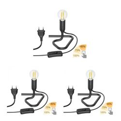 Tischlampe TRIN schwarz mit Stecker und Schalter inkl. E14 LED Lampe, 3-Stufen-dimmbar über Lichtschalter, warmweiß, 2700K, 4.5W =36W, 400lm, 3 Stk.