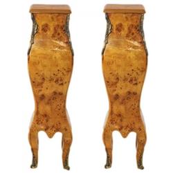 Casa Padrino Barock Säulen Set Wurzelholz Optik - Beistelltisch Set - Säule (2 Stk)