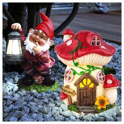 etc-shop LED Dekofigur, Fliegenpilz Deko Garten Solar Deko für Garten Figur Gartenzwerg mit Laterne Solar, 1x Pilzhaus und 1x Gartenzwerg, 1x LED Akku, 2er Set