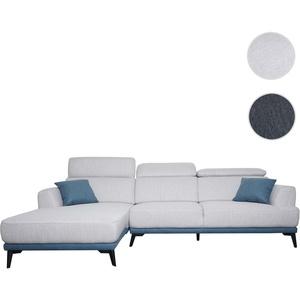 Sofa HWC-G44, Couch Ecksofa L-Form 3-Sitzer, Liegeflche Nosagfederung Taschenfederkern verstellbar ~ links, hellgrau