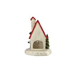 Basispreis* Teelichthalter Weihnachtshaus ¦ rot ¦ Dolomite ¦ Maße (cm): B: 14 H: 20,5 T: 13,5
