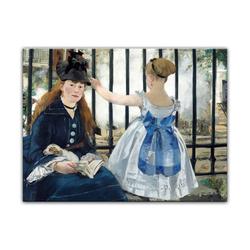 Bilderdepot24 Leinwandbild, Leinwandbild - Édouard Manet - Die Eisenbahn 60 cm x 50 cm