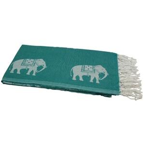 my Hamam Hamamtücher Hamamtuch petrolgrün weiß, mit kleinen Elefanten (1-St), mit Fransen
