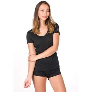 super.natural Damen W BASE V NECK TEE 140 Merino T-shirt, Schwarz (Jet Black), S