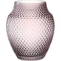 LEONARDO Poesia Tisch-Vase, handgefertigte Deko-Vase in Rosa- Violett, bauchige Blumen-Vase, Kerzen-Halter aus Glas, großes Windlicht, 23 cm hoch, 018674