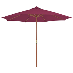 vidaXL Sonnenschirm mit Holz-Mast 300 cm Bordeauxrot