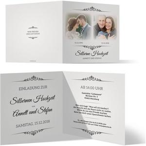 10 x Silberne Hochzeit Einladungskarten Silberhochzeit Einladungen 25 Jahre - Zeitsprung