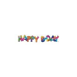 Amscan Folienballon CI: Phrases Block Phrase Happy Bday Rainbow Splash