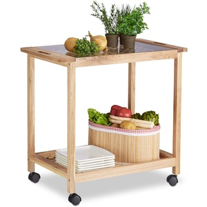 Relaxdays Küchenwagen auf Rollen, Holz Servierwagen mit Glasplatte, 2 Etagen Rollwagen, HxBxT: 62 x 66 x 38 cm, natur