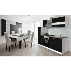 Respekta Küchenzeile KB240WS 240 cm Weiß - Schwarz