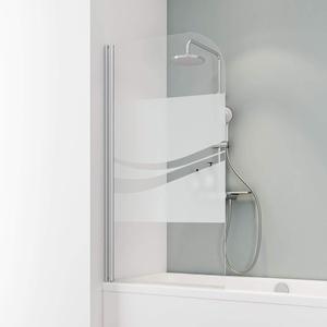 Schulte D1650 Duschwand Komfort, 80 x 140 cm, 5 mm Sicherheitsglas Liane, alu natur, Duschabtrennung für Badewanne