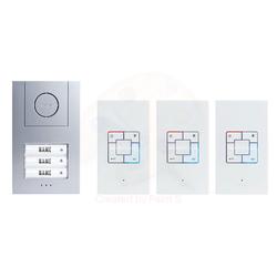 m-e Audio-Türsprechanlage ALU 3-Familienhaus Set (AP) Video-Türsprechanlage braun