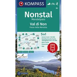 KOMPASS Wanderkarte Nonstal Mendelpass Val di Non Passo della Mendola 1:50 000