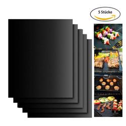 kueatily Backmatte BBQ Grill Mats, 5er Set Antihaft-Grill und Backmatte Mehrweg-PFOA-frei - Hervorragend geeignet für Kohlen-, Gas- und Weber-Grills - Perfekt für Fleisch, Fisch und Gemüse, 40 x 33 cm, Teflon