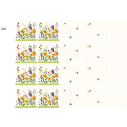Wall-Art Fliesenaufkleber Fliesenaufkleber Blütenpoesie (20 Stück) 15 cm x 15 cm x 0,1 cm