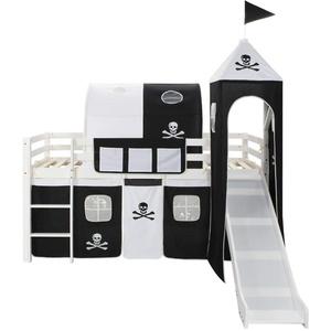 Tidyard-  Kinderhochbett-Rahmen mit Rutsche & Leiter Kiefernholz 97x208cm Kids Kinderbett Halbhochbett | Kinder Hochbett Komplettset, Kinderhochbett-Rahmen mit Rutsche und Leiter
