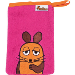 Playshoes Girls Frotte-Waschhandschuh Die Maus pink