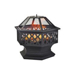 Flieks Feuerschale, Feuerstelle mit Grillrost, Funkenschutz, Metall Feuerkorb, 3 in 1 Feuerschale im Freien (Hexagonal Feuerstelle)