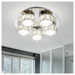 etc-shop Deckenstrahler, LED Decken Lampe Leuchte Metall Chrom Dimmbar Kristalle Wohn Ess Schlaf Zimmer