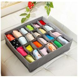 MyBeautyworld24 Aufbewahrungssystem Organizer für Socken in grau Unterwäsche Krawatten Gürtel Aufbewahrungskasten mit 30 Fächern Ordnungssystem