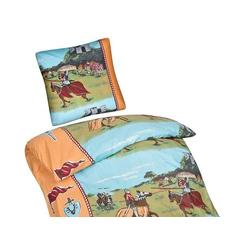 Aminata Kinder-Bettwäsche Ritter 135 x 200 cm 100% Baumwolle