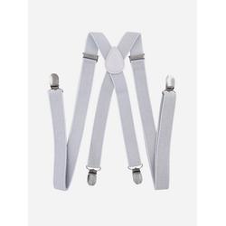 axy Hosenträger mit Glitzerfäden Herren Hosenträger mit Glitzerfäden 4 Stabile Clips X-Form 2,5cm Breit verstellbar und elastisch 120cm Lang silberfarben