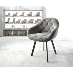 DELIFE Esszimmerstuhl Gaio-Flex 4-Fuß oval Schwarz Samt Grau grau 62 cm x 80 cm x 59 cm