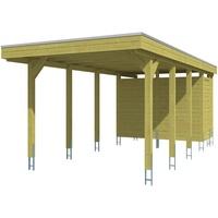 SKANHOLZ Friesland Set 2 3,14 x 7,08 m imprägniert inkl. Abstellraum und Alu-Dachplatten