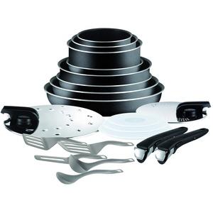 Tefal Ingenio Set, Aluminium, schwarz, 20 pièces (Nicht für Induktion geeignet)