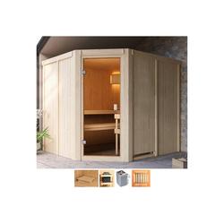 Karibu Sauna Henrika, BxTxH: 231 x 196 x 198 cm, 68 mm, 9-kW-Ofen mit int. Steuerung