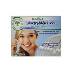 Regina Wattestäbchen, chlorfrei, Ohrenstäbchen mit Papierschaft, 1 Box = 200 Stück