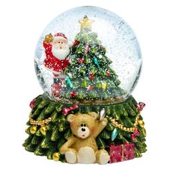 SIKORA Schneekugel SK12 Weihnachtsmann auf dem Weihnachtsbaum mit bunter LED Beleuchtung D:6,5cm