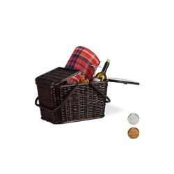 relaxdays Picknickkorb Picknickkorb mit Deckel