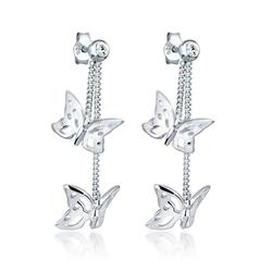 Elli Paar Ohrhänger Schmetterling Natur Swarovski® Kristalle Silber, Schmetterling
