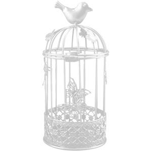 Lai-LYQ Metall Kerzenhalter Hohler Vogelkäfig mit Schmetterlingsform Leuchter für Romantische Hochzeit Festival Weihnachten Deko Party-Verzierung Geburtstag Geschenk White