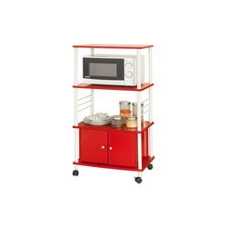 SoBuy Küchenwagen FRG12, Küchenschrank Rollschrank Mikrowellenschrank rot 60 cm x 114 cm x 40 cm