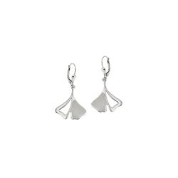 Gallay Paar Ohrhänger Ohrhänger Ohrringe 37x19mm Ginkgo-Blatt rhodiniert glänzend Silber 925