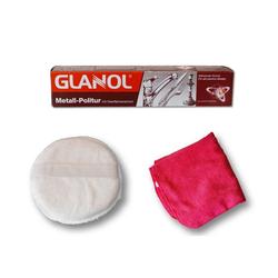 Autowaschbürste Politur Metallpolitur Poliermittel Chrom Schutz, Glanol, (3-tlg)