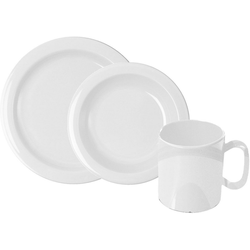 WACA Frühstücks-Geschirrset (6-tlg), Kunststoff weiß
